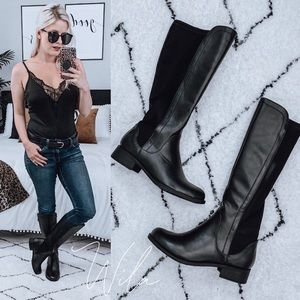 RESTOCKED 🔥 leather knee high riding boots black